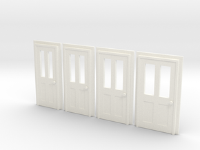 Door Type 6 - 4mm Scale in White Strong & Flexible Polished