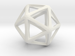 Icosahedron Wireframe Catmull Clark  30mm in White Strong & Flexible
