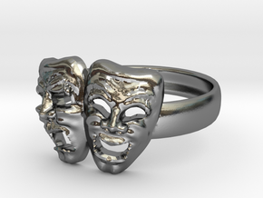 Comedy Tragedy Ring in Polished Silver