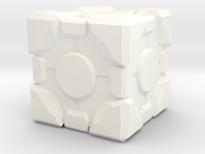 1in Companion Cube in White Strong & Flexible Polished