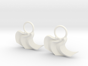Origami:  Curve Fold Earrings in White Strong & Flexible Polished
