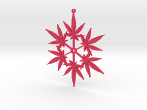 Snowflake Cannabis Ornament  in Pink Strong & Flexible Polished