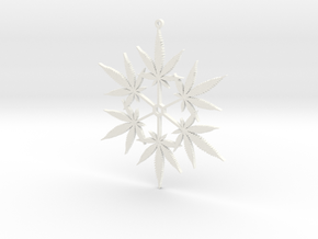Snowflake Cannabis Ornament  in White Strong & Flexible Polished