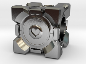 Companion Cube Pandora style Bead in Polished Silver