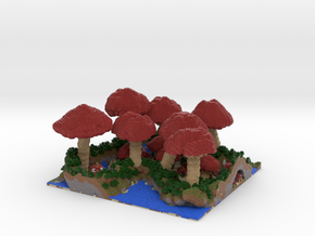 Mushroom Village - Small 0.5 mm in Full Color Sandstone