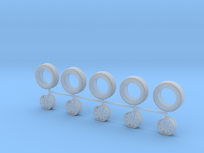 "1:48 14"" 9 Spoke Wheels and 185/60R14 Tires in Frosted Ultra Detail"