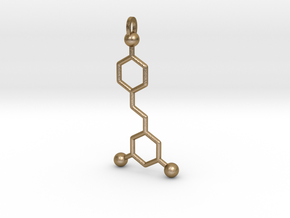 Red Wine Molecule in Polished Gold Steel