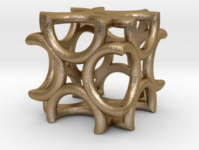 Cube fractal small VT7 in Polished Gold Steel
