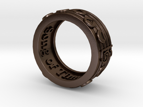 Ring - Song of Time (Size 13) in Polished Bronze Steel