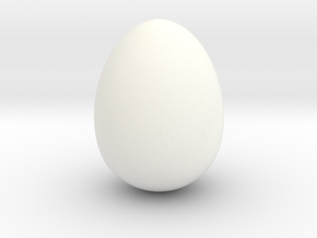 Cow bird egg smooth  in White Strong & Flexible Polished