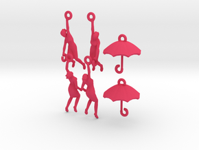 earring set: Umbrella girls in Pink Strong & Flexible Polished