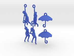 earring set: Umbrella girls in Blue Strong & Flexible Polished