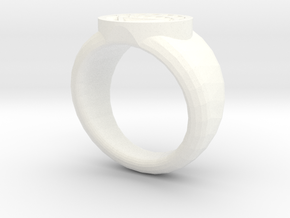 White Lantern Ring in White Strong & Flexible Polished