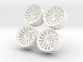 1/10 Touring Car Vossen VFS2 Wheel Set  in White Strong & Flexible Polished