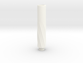 twisted Drip Tip in White Strong & Flexible Polished