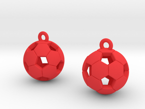 Soccer Balls Earrings in Red Strong & Flexible Polished