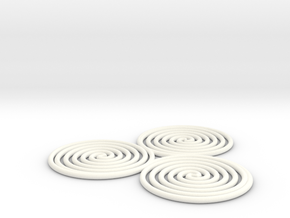 Triskelion (triple spiral) 1mm in White Strong & Flexible Polished