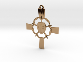 Luther Rose Cross Pendant in Polished Brass