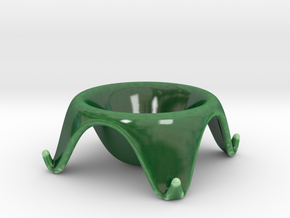 ^egg cup 4 leg supports in Gloss Oribe Green Porcelain