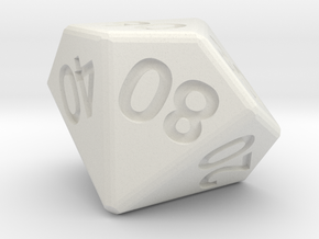 Percentile 10-sided die (d10) in White Strong & Flexible