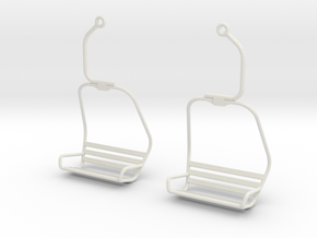 Ski Lift Chair Ear Rings in White Strong & Flexible