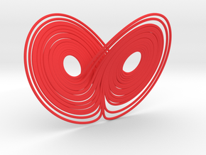 Lorentz attractor 100mm in Red Strong & Flexible Polished