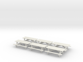 Picnic Tables S Scale X6 in White Strong & Flexible