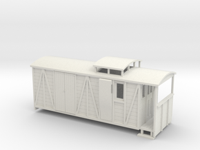 OO9 bogie brake/road van with birdcage (large) in White Strong & Flexible