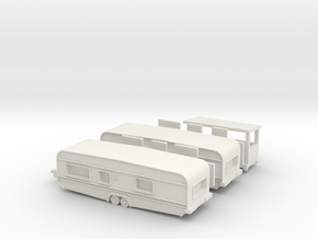 2 Tandemwohnwagen 8 m - 1:160 (n scale) in White Strong & Flexible