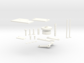 1:7 Scale Centre Console Misc Parts in White Strong & Flexible Polished