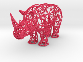 Digital Safari- Rhino (Small) in Pink Strong & Flexible Polished