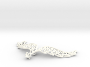 Angel Wings Pendant - in nylon in White Strong & Flexible Polished