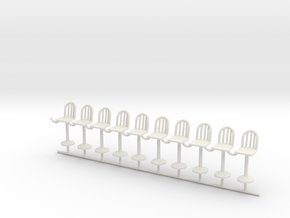 S Scale Bar Stools X10 in White Strong & Flexible