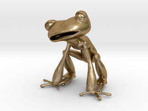 Frog 3,8 cms in Polished Gold Steel