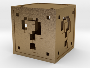 8 bit Mario Block in Polished Gold Steel