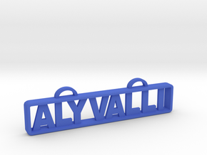 Aly Valli Name Tag in Blue Strong & Flexible Polished