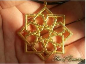 Islamic Arabesque Star Knot Pendant in Polished Gold Steel
