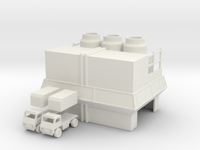Factory and Trucks in White Strong & Flexible