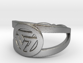 Valknut insignia ring Ring Size 7 in Raw Silver