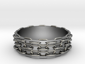 Chain Bangle in Raw Silver