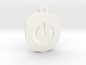 On Button Circular Frame Pendant Insert in White Strong & Flexible Polished
