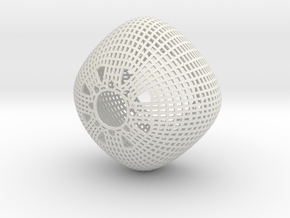 Chandelier (round wireframe) in White Strong & Flexible