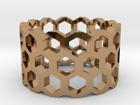 Honeycomb Ring Size 9 in Polished Brass