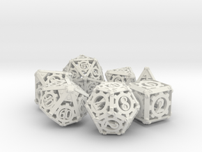 Steampunk Dice Set in White Strong & Flexible