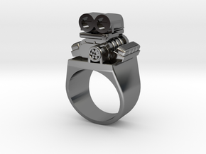 Size 10 Big Block Entertainment Supercharger Ring in Premium Silver