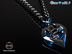 Burn heart with music in Premium Silver