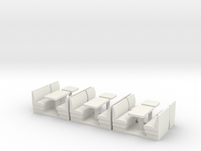 S Scale Resturant Booths X6 in White Strong & Flexible