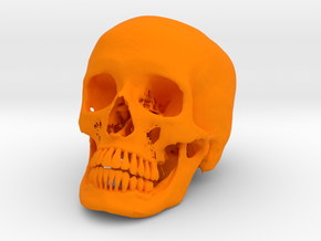 Jack-o'-lantern skull from CT scan, half size in Orange Strong & Flexible Polished