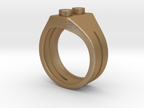 Brick Ring in Matte Gold Steel