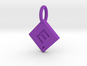 SCRABBLE TILE PENDANT E in Purple Strong & Flexible Polished